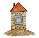 Watercolor stone house Royalty Free Stock Photography
