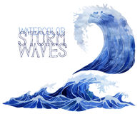 Watercolor storm waves set Royalty Free Stock Image
