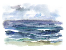 Watercolor stormy sea Stock Images