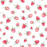 Watercolor strawberries seamless pattern. White background with sweet strawberries. Handcrafted illustration Stock Photos