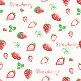 Watercolor strawberry background. Hand drawn. Strawberries background. Seamless pattern. Watercolor hand drawning vector illustration Stock Photos