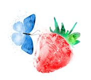 Watercolor strawberry with butterfly on white