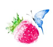 Watercolor strawberry with butterfly