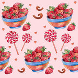 Watercolor strawberry in colored plate on yellow background with colorful splashes. stock illustration