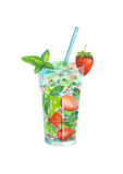 Watercolor strawberry mojito on white background. Watercolor hand drawn strawberry mojito isolated on white background vector illustration