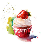 Watercolor strawberry muffin. Hand painted watercolor strawberry muffin Stock Image