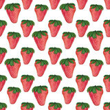 Watercolor strawberry pattern. Seamless pattern texture Royalty Free Stock Photo