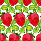 Watercolor strawberry pattern Stock Images