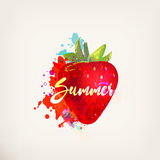 Watercolor strawberry. Watercolor red strawberry with lettering. Ink painting. Sweet fruit, berry. Colorful paint blots and stains. Hand drawn concept for your Royalty Free Stock Image