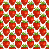 Watercolor strawberry on white background. Seamless pattern. Royalty Free Stock Images
