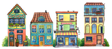 Watercolor street with cafe, houses, flowers shop, and cats. Hand drawn illustration Royalty Free Illustration