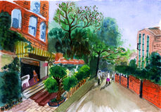 Watercolor street house. On paper Royalty Free Stock Image