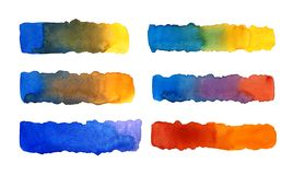 Watercolor stretching lines. Ultramarine stretch marks, red, yellow royalty free stock photography