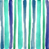Hand drowning watercolor  blue stripes stock illustration