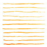 Watercolor stripes strokes orange vector brushes Stock Photography