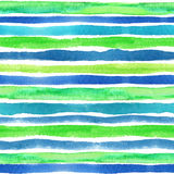 Watercolor strips seamless pattern border.Blue Royalty Free Stock Photo