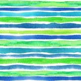 Watercolor strips seamless pattern border.Blue Royalty Free Stock Photo