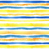 Watercolor strips seamless pattern border.Yellow