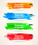 Watercolor stroke backgrounds. Set of four colorful watercolor stroke backgrounds Royalty Free Stock Images
