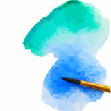 Watercolor stroke with brush. Low poly illustration watercolor stroke with brush Royalty Free Stock Photography