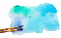 Watercolor stroke with brush. Low poly illustration watercolor stain with brushes Royalty Free Stock Images