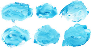 Watercolor strokes. Set of watercolor paint brush strokes are isolated on a white background Stock Image