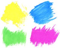 Watercolor strokes. Colorful watercolor hand painted brush strokes are isolated on a white background Stock Image