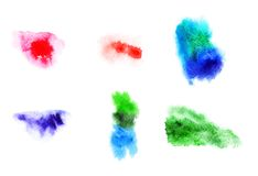 Watercolor strokes pattern set Royalty Free Stock Photos