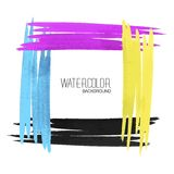 Watercolor strokes on white paper. CMYK design Stock Images