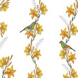 watercolor struttura quadrata dei gigli gialli su un fondo bianco con due uccelli illustrazione di stock