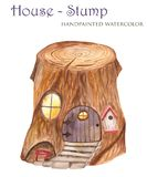 The watercolor stump is a home for gnomes. vector illustration