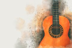 Watercolor style abstract illustration of acoustic guitar. Watercolor style abstract illustration of acoustic guitar Stock Illustration