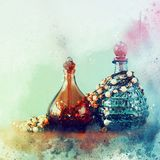 Watercolor style and abstract illustration of vintage perfume bo. Ttle stock images