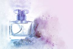 Watercolor style and abstract illustration of vintage perfume bottle. Watercolor style and abstract illustration of vintage perfume bottle royalty free stock images