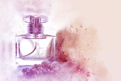 Watercolor style and abstract illustration of vintage perfume bottle. Watercolor style and abstract illustration of vintage perfume bottle stock photo