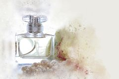 Watercolor style and abstract illustration of vintage perfume bottle. Watercolor style and abstract illustration of vintage perfume bottle royalty free stock photography