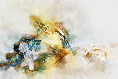 Watercolor style and abstract image of elegant venetian, mardi gras mask. Watercolor style and abstract image of elegant venetian, mardi gras mask royalty free stock image