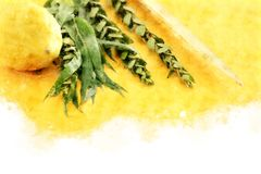 Watercolor style and abstract image of Jewish festival of Sukkot. Traditional symbols The four species: Etrog, lulav, hadas, ara Stock Image