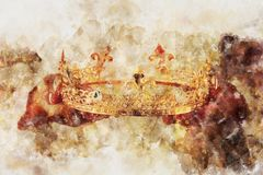 Watercolor style and abstract image of lady holding gold crown. fantasy medieval period. Watercolor style and abstract image of lady holding gold crown. fantasy Royalty Free Stock Photos