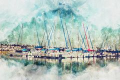 watercolor style and abstract image of nautical concept with old stock images