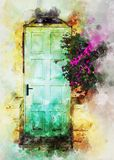 watercolor style and abstract image of old blue rustic wooden door and flowers. Stock Photos