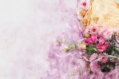 Watercolor style and abstract image of Pesah celebration concept & x28;jewish Passover holiday& x29;. Watercolor style and abstract image of Pesah celebration Royalty Free Stock Photo
