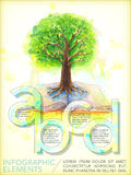 Watercolor style education infographic with tree and book Stock Photography