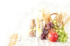 watercolor style illustration of dairy products and fruits over wooden background. Symbols of jewish holiday - Shavuot. Royalty Free Stock Image