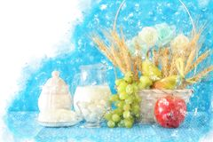 watercolor style illustration of dairy products and fruits over wooden background. Symbols of jewish holiday - Shavuot. Stock Image