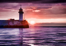 Watercolor style image of lighthouse Stock Images