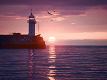 Watercolor style image of lighthouse Stock Image