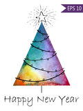 Watercolor-style isolated vector illustration of Christmas or New Year Tree. Whith hand-drawn elements . On white. Background grouped and isolated in vector Royalty Free Stock Photos