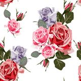 Watercolor style pink redviolet roses seamless pattern. stock illustration