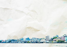 Watercolor style: Riverside building landscape overlay on crumpl Stock Photo
